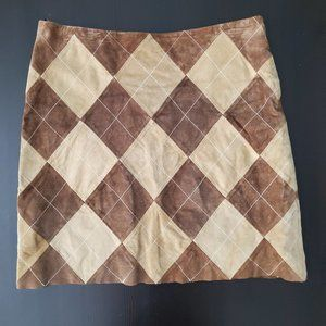 Leather Suede Argyle Skirt Brown Tan